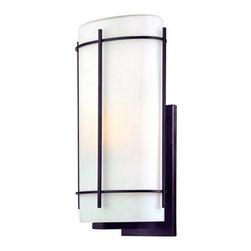 Dolan Designs - Dolan Designs 9303 1 Light Ambient Light Large Outdoor Wall Sconce from the Paci - Dolan Designs 9303-34 Pacifica 1 Light Ambient Light Large Outdoor Wall SconceFeaturing a clean, modern design, this 1 Light Large Outdoor Wall Sconce features an Olde World Iron finish and a simple Satin White Glass Shade. This wall sconce is sure to bring a modern touch to any lighting application.Pacifica is an Asian-inspired design that features an Olde World Iron finish and a simple Satin White Glass Shades. This collection is sure to bring a modern touch to any home.Dolan Designs 9303 Features: