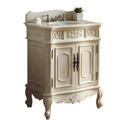 "Unique classic Ellenton Bathroom sink vanity 30"" - Give your bathroom an upscale appearance with this striking Bathroom Sink Cabinet. This piece is carefully handcrafted of sturdy wood. A smooth, rich finish brings out the luster of the cabinet, while enhancing the intricate carved acanthus leaf details. A beautiful hand-polished white marble counter top completes the look for a sumptuous effect."