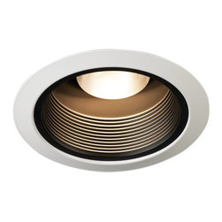 "Juno - Juno 5"" Black Baffle White Trim Recessed Light - This Juno recessed light is one of the most popular. The white trim has a black tapered baffle that creates a crisp appearance. To be used with Juno Lighting IC New Construction Non-IC New Construction and Non-IC Remodeling recessed light housing. Takes one 50 watt halogen bulb (not included). 5"" in diameter.  White trim.  Black baffle.  Rated for use with one 50 watt halogen bulb (not included).  5"" diameter."