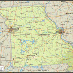 Murals Your Way - Missouri Wall Art - A map by EGLLC Maps, the Missouri wall mural from Murals Your Way will add a distinctive touch to any room