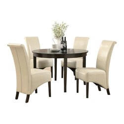 "Monarch Specialties - Monarch Specialties 1740-1777TP 5-Piece Round Dining Room Set in Dark Espresso - This dining table offers rich design and transitional styling that invites a relaxed setting into your home. Finished in a dark espresso, this clean lined 48"" round dining table will create the perfect look for intimate dinners or casual get together. This piece features thick block legs and a large eating area to accommodate all your friends."