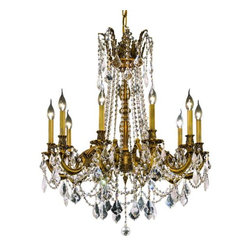 """PWG Lighting / Lighting By Pecaso - Reynard 10-Light 28"""" Crystal Chandelier 7829D28FG-RC - Elegant lighting for gracious living, Reynard Crystal Chandeliers are a lustrous departure in crystal design. Beginning with the solid brass sculptured and finely detailed frame, this series may be dressed in a choice of extraordinarily clear or colored crystal prisms."""