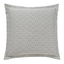"""DwellStudio - DwellStudio Paloma Euro Pillow Sham Set of 2 - The DwellStudio Home Paloma euro pillow shams pack a contemporary punch. A textured, geometric pattern draws attention across the bedding's rich smoke gray cotton. 26""""W x 26""""H; 400 thread-count cotton jacquard; Set of two; Inserts not included; Machine washable"""