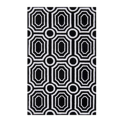 "Surya - Surya Hudson Park HDP-2010 (Jet Black, White) 5' x 7'6"" Rug - With contemporary color scheme, Surya's Hudson Park collection is a unique blend of chic area rugs. Designed by Angelo Surmelis and hand-tufted in China this area rug is sure to be a great accent piece for any casual or formal area."