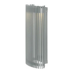 LBL Lighting - LBL Lighting | Upstate 18 Outdoor Wall Light - Design by LBL Lighting.The Upstate 18 Outdoor Wall Light features a curved metal frame finished with vertical metal slats. Offered in bronze or silver finish, the Upstate Collection is ideal for providing ambient downlight in modern outdoor spaces. Dimmable with a low voltage electronic dimmer. Offered in 120V or 277V. Suitable for wet locations.Shown in silver finish.