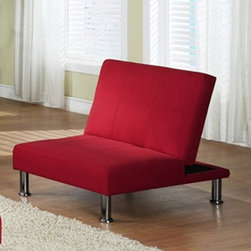 InRoom Designs Klik-Klak Convertible Chair Bed – Red - Add options and an instant focal point to any space with the InRoom Designs Klik-Klak Convertible Chair Bed - Red. The space-saving design converts quickly from chair to bed. Featuring cotton canvas upholstery in a fiery red, this sleek, modern chair is perfect for any room.About Inroom Furniture DesignsThough a young company, established in 2008, Inroom Furniture Designs provides world class design, marketing, engineering, and quality control. As an innovator in both youth bedroom and other home furnishings, they are committed to bring fresh designs and craftsmanship. At Inroom Furniture Designs, they pride themselves on paying close attention to product detail and quality features like full extension ball bearing drawer glides, beautifully accented English drawer dovetailing, maximum drawer size, and engineering safety.