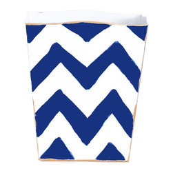 Navy Bargello Wastebasket - Add some color and style to a kid's bedroom, office or bath with this navy blue Bargello zig zag pattern metal wastebasket.  Great contemporary style and the perfect size for a desk area.