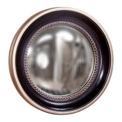 Howard Elliott - Patterson Round Mirror - This small round transitional mirror features a matte black frame bordered by silver leaf trim and accented by a studded silver leaf inset. convex mirror.