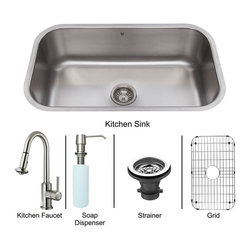 "Vigo - Vigo All in One 30 Undermount Stainless Steel Kitchen Sink and Faucet Set - Vigo VG15283 All in One 30"" Undermount Stainless Steel Kitchen Sink and Faucet Set, Stainless Steel"