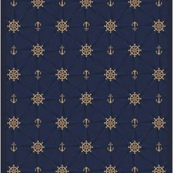 Joy Carpets Mariners Tale Area Rug - Mariner's Tale is the perfect choice for nautical-themed rooms. Simple but sophisticated it features a repeating pattern against your choice of colored backgrounds. This carpet is a favorite in boutique hotels and restaurants but works just as well in dens patios and kid's rooms with ocean themes.Sizes available3 feet 10 inches x 5 feet 4 inches5 feet 4 inches x 7 feet 8 inches7 feet 8 inches x 10 feet 9 inches13 feet 6 inches broadloom18 inch x 18 inch pattern repeatThis carpet features SoftFlex backing which is an air-texturized polypropylene secondary backing that's designed to withstand the most demanding situations. SoftFlex is woven tightly yet is still extremely flexible which helps eliminate wrinkles and provide superior protection and insulation underfoot.JoyTuff carpets are STAINMASTER-protected and ideal for home or office use. They are constructed from STAINMASTER BCF Type 6 6 two-ply nylon and feature advanced protection against stain and soil as well as Impervion mold and mildew protection. This carpet is bound and serged for maximum durability and features a SoftFlex back plus a Class I Flammability rating. To maintain simply vacuum regularly and use hot water extraction cleaning as required.This carpet includes the following warranties:Lifetime limited wear warrantyLifetime limited antimicrobial protectionLifetime limited static protection10-year limited dual technology soil and stain protectionDedicated to Environmental StewardshipJoy Carpets understands the importance of environmental stewardship and its relationship to a successful business. We are committed to operating our facilities in an environmentally sustainable manner and in a manner that protects the health and safety of our associates and the public.Our environmental commitment is driven by a holistic approach to sustainable operations not simply focusing on recycling alone. Joy Carpets reaches beyond recycling in an effort to reduce our company's environmental footprint. Our vision and progress to achieving the goal of full sustainability focuses on the following:Environmentally friendly productsReview of our products' supply chainExtending product life cycleUse of recycled packagingReducing waste to landfillReducing energy consumption and water usageUse of alternative energy sources'No carpet to landfill' commitmentRecycling carpet into new productsDonating carpet for charitable re-useAdditionally Joy Carpets is committed to establishing a strong foundation of environmental values with our families associates and communities to ensure the long-term conservation of our earth's natural resources.About Joy CarpetsJoy Carpets is the leader in specialty broadloom modular carpet rugs and mats in creative and eye-catching designs. Joy takes pride in providing first-rate floor coverings for residential educational hospitality healthcare and commercial markets. The pioneer of fine gauge tufting Joy Carpets introduced the first recreational carpeting to the industry in 1973 and since that time has been known for their commitment to cutting edge technology and design. Joy Carpets are proudly made in the United States and sold worldwide. Choose Joy Carpets for superior service and unique fun products that enhance your decor and give you fantastic flooring in an instant.
