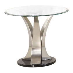 Homelegance - Homelegance Charlaine Round Glass End Table on Chrome Pillars - Three gracefully curved and tapered hand-rubbed brushed chrome pillars rise from round black bases to create the softened contemporary aura of the Charlaine collection. Round Cocktail table, round end table and semi-circular sofa tables are available to add a touch of high quality, clean and contemporary style to your living space.