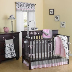 Laugh Giggle And Smile - New Country Home Versailles Pink Minky Plush 10-Piece Crib Bedding Set - The Versailles Pink Minky Set offers plush textiles featuring 3 prints on an ivory background. The 10-piece set includes a comforter, crib sheet, valance, crib skirt, blanket, diaper stacker, musical mobile and 3-piece wall décor.