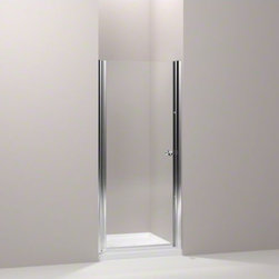 """KOHLER - KOHLER Fluence(R) pivot shower door, 65-1/2"""" H x 30 - 31-1/2"""" W, with 1/4"""" thick - With a frameless, versatile design and Crystal Clear glass, the Fluence pivot shower door adds contemporary style to your shower. The door allows 1-1/2-inch adjustability for out-of-plumb installations and can be installed to open to the left or right to fit the layout of your room. CleanCoat(R) glass coating repels water for easy cleanup."""