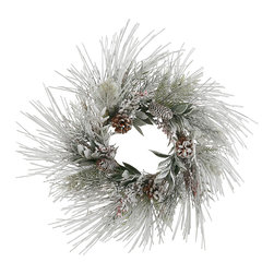 "Winward Designs - Winter Long Pine Wreath 24"" - Have yourself a very merry White Christmas with our Winter Long Pine Wreath. Faux foliage."