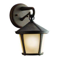 Kichler 1-Light Outdoor Fixture - Aged Bronze Exterior - One Light Outdoor Fixture Handsome and well suited for a range of home exterior styles. This 1 light coach fixture in the Melbern family with its aged bronze finish and light umber etched glass will provide a warm welcome to guests. 100 watt max. Diameter 7, height 11. Extension 8. Height from center of wall opening 2 . Ul listed for wet location. U. S. Patent pending.