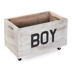 Kathy Kuo Home - Industrial Loft Style Antique White Painted Storage Box on Casters - BOY - This antique whitewashed storage cart is perfect for a baby boy's room, playroom or industrial-style space. Mounted on casters for easy mobility, this sturdy crate holds tools, toys or any small household objects. Constructed from reclaimed wood, the distressed crate improves with age, like the boy who owns it.