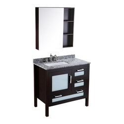 Bosconi - 37'' Bosconi SB-251-1 Vanity Set - A masculine aesthetic plays across the features of this sleek, single-sink vanity set. A mottled gray, black and white Carrara marble countertop and backsplash provides a rich, dark palette while the vanity's frame and medicine cabinet are finished in a complementary shade of dark espresso. Solid birch wood ensures its lasting durability.
