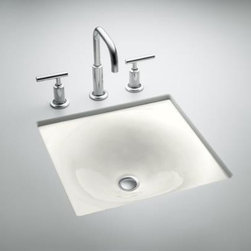 KOHLER - KOHLER K-2827-0 Iron/Tones Cast Iron Undercounter or Self Rimming - KOHLER K-2827-0 Iron/Tones Cast Iron Undercounter or Self Rimming in White