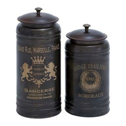 """Benzara - Canisters with Classic and Old-World Appeal - Set of 2 - Canisters with Classic and Old-World Appeal - Set of 2. This metal canisters S/2 12"""", 10""""H flaunts a simple yet charming design which enhances decor aesthetics."""