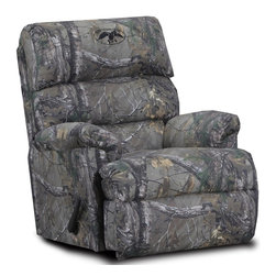 Chelsea Home - Real Tree Extra Twill Recliner - Pull bar reclining mechanism. Reinforced 16 gauge border wire. Engineered wood products. Double springs used on the ends nearest the arms. Hi-density foam cores. Seat cushion is attached. Seat back cushion is attached. Dacron polyester wrap. Seating comfort: Medium. Made from polyester blend and solid kiln dried hardwood. Made in USA. Assembly required. 34 in. L x 40 in. W x 42 in. H (110 lbs.)