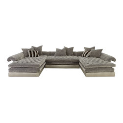 """Old Hickory Tannery - Galvin Three-Piece Sectional Sofa - LIGHT SILVER - Old Hickory TanneryGalvin Three-Piece Sectional SofaDetailsEXCLUSIVELY OURS.Hardwood frame.Upholstered in polyester/cotton and cotton/acrylic/nylon.Includes six 27""""Sq. throw pillows with 2"""" diamond quilting and two 18""""Sq. striped throw pillows.Comfort-down seat cushions.170""""W x 26""""T. Chaise 93""""D; armless section 48""""D. Seat 17""""T.Handcrafted in the USA.Boxed weight approximately 450 lbs. Please note that this item may require additional delivery and processing charges.Designer About Old Hickory TanneryFounded more than 30 years ago Old Hickory Tannery is still family owned and operated in Hickory North Carolina. Although the company's name reflects its original focus on fine leather upholstery Old Hickory is now equally well know for fabric-covered seating. Its range of styles is impressive from dramatic Duncan-Phyfe-style sofas to graceful Queen Anne armchairs claw-footed tub chairs feminine full-skirted settees and sleek slipper chairs. Old Hickory's craftsmen bring an abundance of expertise to their work; some have been making furniture for almost half a century. All upholstery is cut and sewn entirely by hand all frames are solid hardwood nailhead trim is hand-hammered and all springs are hand-tied to the frame and surrounding springs at eight points for lasting comfort and stability. These are just a few of the reasons why this American furniture maker is one of our favorites."""