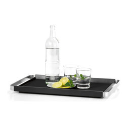 Blomus - Pegos Rectangular Tray - Keep everything well in hand with a handsome serving tray, cleverly lined with a layer of silicon to keep drinks and bottles from slipping. You may in fact find yourself using it every day, simply to keep tea cups calm, coffee mugs immobile and soda glasses still while on their way to your table.