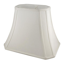 American Heritage Shades - Fabric Lampshade in Cream w Fitter (10 in. Diam x 8.75 in. H) - Choose Size: 10 in. Diam x 8.75 in. HLampshade Types. Shantung faux silk with off-white fabric liner. Hand made. Matching top, bottom and vertical trim. Corner cut rectangle bell shape. Enhances lamp and room decor. Made from polyester. Fitter in brass color. Made in USA. No assembly required