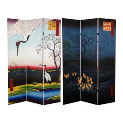 Oriental Furniture - 6 ft. Tall Double Sided Hiroshige Room Divider - Cranes/Fox Fire - This folding screen features two of Utagawa Hiroshige's ukiyo-e prints reproduced in stunning resolution on art-quality canvas. On one side a procession of kitsune, foxes with magical powers and fiery breath, gathers beneath an enoki tree on a starry winter's night. On the other side a pair of cranes alight in the cool blue pond where a farmer, shown in the background returning home, has left a gift of food. Both of these masterful reproductions feature the deep, bold colors of Hiroshige's originals. The perfect gift for a connoisseur of art, Japanese culture, or nature scenes, this beautiful screen will stand out in any home or business.