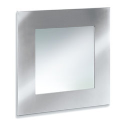 Blomus - Muro Stainless Steel Square Mirror - Bevel glass. Square in shape. Made of stainless steel, perforated. 1-Year manufacturer's defect warranty. 22.73 in. L x 22.73 in. W