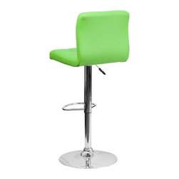 Flash Furniture - Flash Furniture Barstools Residential Barstools X-GG-NRG-DOM-018-SD - This sleek dual purpose stool easily adjusts from counter to bar height. The simple design allows it to seamlessly accent any area in the home. Not only is this stool stylish, but very comfortable to provide you with an amazing sitting experience! The easy to clean vinyl upholstery is an added bonus when stool is used regularly. The height adjustable swivel seat adjusts from counter to bar height with the handle located below the seat. The chrome footrest supports your feet while also providing a contemporary chic design. [DS-810-MOD-GRN-GG]