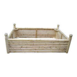 Master Garden Products - Seating Cedar Log Wood Raised Bed, 6 Posts with Ball Finials, 4'w X 12'l X 2'h - Our white cedar wood Log wood raised bed is our newest addition to our raised bed kits. It is constructed of  round and  half round cedar wood . The 3.5 diameter round log posts have a ball finial built into it. Seating board at all four sides.