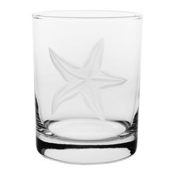 Rolf Glass - Starfish Glass, Set of 4 - Make yours a double, whether it's an actual cocktail or simply a glass of guava juice, it will taste better in these cut-glass double-old-fashioned tumblers. A engraved starfish floating in sea grass adds beach-house appeal.