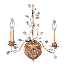 "Crystorama - Flower and Vine Gold Leaf Wallmount Fixture - A delicate intricate design that positively glows. Lush gold leaf finish. Crystal flower and leaf accents. Takes two 60 watt candelabra bulbs (not included). 15"" wide. 18"" high. Extends 6"" from the wall.  Lush gold leaf finish.  Crystal flower and leaf accents.  Takes two 60 watt candelabra bulbs (not included).  15"" wide.  18"" high.  Extends 6"" from the wall."