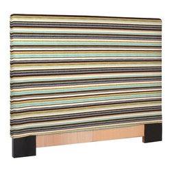 Howard Elliott - Ribbon King Slipcovered Headboard - The Slip covered Headboard is constructed with a sturdy wood frame that is padded for maximum comfort, making it solid yet cozy. This piece features bold stripes of plush velvet in bold colors.