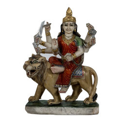 Consigned Antique marble Durga, S-569-108450 - This is a beautiful 19th century marble Durga from Rajasthan state of India. Durga is a primary Goddess representing Shakti of Shiva. She is remover of al obstacles and is specially needed ti fight the powerful demons of excessive urges and desires.