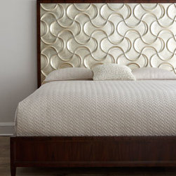 Horchow - Ribbons California King Bed - Looking for glamour for the bedroom? With its combination of rich wood tones, silver-leaf finish over twisting and turning ribbon motifs, champagne leather drawer fronts, and black mother of pearl on an ornately scrolled mirror, this bedroom furniture d...