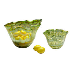 Kathy Kuo Home - Medium Light Green Yellow Scalloped Edge Glass Fruit Bowl - A scalloped edge and unique swirl effect and unique swirl effect of green and yellow color bursts to life in this delightful glass bowl.  Delivers a dash of vintage style in a citrus palette; perfect for mid century modern rooms.