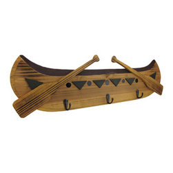 Canoe Wall Plaque and Key Hanger - Do you love the outdoors? Are you constantly losing your keys? This all wood canoe wall plaque and key holder will keep your keys handy while complementing your lifestyle! It is 24 inches long and has three hooks to hang your keys, leashes, purses, umbrellas, bags, et cetera, for quick access.