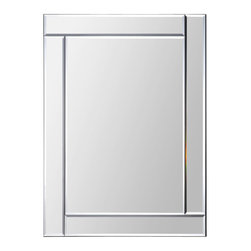 Ren-Wil - Ren-Wil MT1289 Portrait Adan in All Glass - The Adan features a polished mirror border and polished rectangular center. The offset corners give this otherwise simple mirror a touch of sophistication.