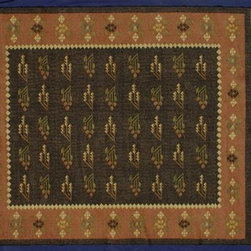 Kilim Qasqagi - Reversible 6'7'' X 8'4'' Hand Woven 100% Wool Taupe Kilim Oriental Area Rug.