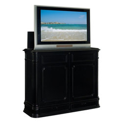 """TV Lift Cabinet - Crystal Pointe 50"""" Hidden Pop up TV Lift Cabinet, Black - Finished on all four sides, there's no mistaking the Crystal Pointe Black TV lift's classic design heritage with its intricately carved corner pillars, balanced proportions and finely crafted African Mahogany veneer. This led, flat screen, or plasma lift TV lift is finished on five sides, and it's unique design allows the component drawers to be reversed so they open from the front. This enables the Crystal Pointe to be positioned against a wall, as a room divider, or at the foot of a bed, and still have full access to the screen and the component drawers - it's three products in one."""