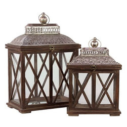 "Benzara - Wooden Lantern Set of Two in Brown Finish with Crossed Wooden Panel Design - The Classic and Traditional Wooden Lantern Set of Two in Antique Brown Finish with Crossed Wooden Panel Design will light up your home and add a fresh luster to your garden parties and your porch. Each metal lantern features a roof shaped top, glass panes and cross shaped wooden panel design. This set of two lanterns come in a lovely antique brown finish and is made from quality wood. The dimensions of the Classic and Traditional Wooden Lantern Set of Two in Antique Brown Finish with Crossed Wooden Panel Design are 14""x9""x20.5""H; 11""x6""x16""H. Wood; Antique brown; 14""x9""x20.5""H; 11""x6""x16""H; Dimensions: 14""L x 9""W x 21""H"