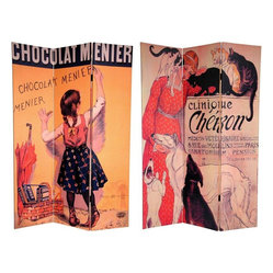 Oriental Furniture - 6 ft. Tall Double Sided Chocolat Canvas Room Divider - A pair of classic art nouveau renderings decorate this spectacular room divider, part of our series of product and theatre advertisements from Paris in the 1800s. The front poster, painted by the renowned artist Etienne Maurice Firmin Bouisset, is from  Chocolat Menier's  iconic ad campaign that featured a young girl scribing the confectioner's name with a piece of chocolate. On the back is a poster for a dog show review created by a famous friend of Toulouse-Lautrec: Illustrator and cat lover Th��ophile Alexandre Steinlen. These spectacular graphic art prints from the turn of the century present chic, urbane interior design elements for your living room, bedroom, dining room, or kitchen. This three panel screen has different images on each side, as shown.High quality room divider constructed from extra durable, kiln dried Spruce wood frame panels. Covered top to bottom, front, back, and edges with tough stretched poly-cotton blend canvasTwo extra large beautiful art prints. Printed with fade resistant, high color saturation ink, creating two stunning, long lasting vivid images. A powerful visual focal points for any roomAn amazingly inexpensive, practical, portable, decorative accessory. Almost entirely opaque, the canvas layers provide complete privacy. Easily block light from a bedroom window or doorwayGreat home d��cor accent for dividing a space, redirecting foot traffic, hiding unsightly areas or equipment, or for providing a background for plants or sculptures. Also can be used to define a cozy, attractive spot for table and chairs in a larger room