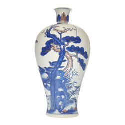"Blue & Red Ceramic Vase - Beyond blue and white: this skillfully hand painted red and blue underglaze vase features a traditional ""bird and trees"" chinoiserie scenery."