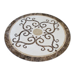 "Medallions Plus - Elegant Marble Floor Medallion 36"" Round, Waterjet Cut - This 36"" round floor medallion is made with all 100% real italian marble.  The stone names are dark emperador, light emperador, and crema marfil and polished to a mirror like finish."