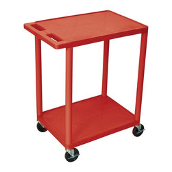 Luxor Furniture - 33.5 in. Utility Cart w 2 Shelves in Red - High density polyethylene structural foam molded plastic shelves. Legs that won't stain, scratch, dent or rust. Retaining lip around the back and sides of flat shelves. Push handle molded into the top shelf. Four heavy duty 4 in. casters, two with brake. Shelves are reinforced with two aluminum bars. Clearance between shelves: 26 in.. Capacity: 300 lbs.. Made from polyethylene, plastic and aluminum. Minimal assembly required. Made in USA. 24 in. L x 18 in. W x 33.5 in. H. Warranty