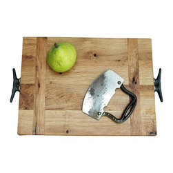 Nautical-Inspired Cutting Board - Handles made from aged steel boat cleats allow the Nautical-Inspired Cutting Board to also act as a serving tray.  With a choice of three sizes to fit your needs, each cutting and serving board is hand rubbed with olive oil, requires little maintenance, and brilliantly shows off the grain of the reclaimed oak wood it's made from.