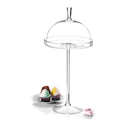 "Godinger Silver - Large Glass Footed Domed Cake Pedestal - Treat your torte to the height of elegance with our impressive glass footed domed pedestal. The perfect way to showcase your special dessert or cheese selection, our classic yet contemporary cake stand creates a beautiful presentation while leaving your guests with a lasting impression. This clear glass set includes a generously sized cake plate on a slim yet sturdy stem topper that acts as a handle. Present this sparkling cake stand as your wedding centerpiece or present as a hostess gift she will enjoy filling with baked confections for years to come.    * Dimensions: 10""D x 23""H"