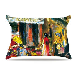 """Kess InHouse - Josh Serafin """"Alimentari"""" Multicolor Painting Pillow Case, King (36"""" x 20"""") - This pillowcase, is just as bunny soft as the Kess InHouse duvet. It's made of microfiber velvety fleece. This machine washable fleece pillow case is the perfect accent to any duvet. Be your Bed's Curator."""