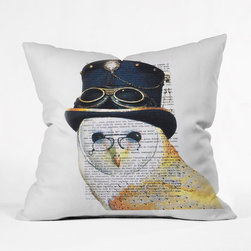 """Oui Owl Pillow Cover - This steampunk-inspired owl loves a good book . . . especially if it's in French. Add this pillow cover to your bed or couch, and say """"oui"""" to its fun-loving style."""
